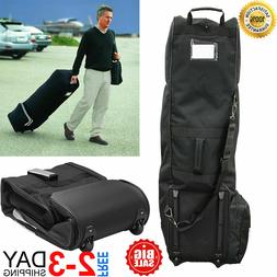 Golf Bag Travel Covers Hard Case Club Wheels Rolling Protect