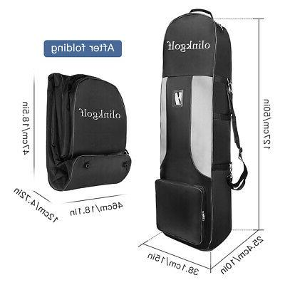OLINKGOLF Soft-Sided Club Travel Bag Case Wheels 50x13x15Inches Black